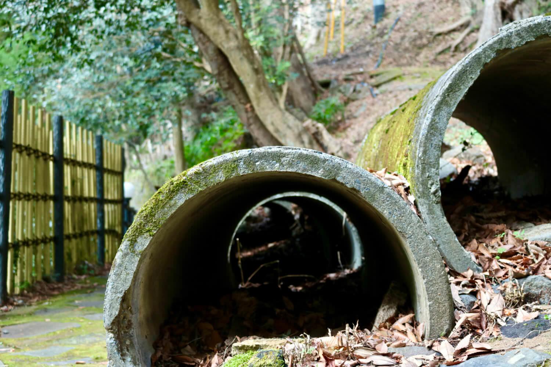 湯道に置かれた土管