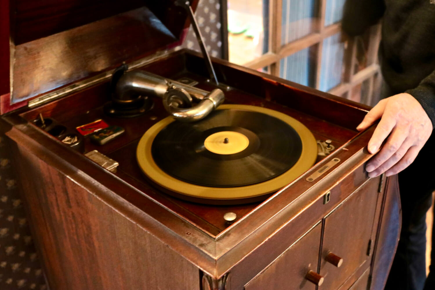 Old record player at cafe place