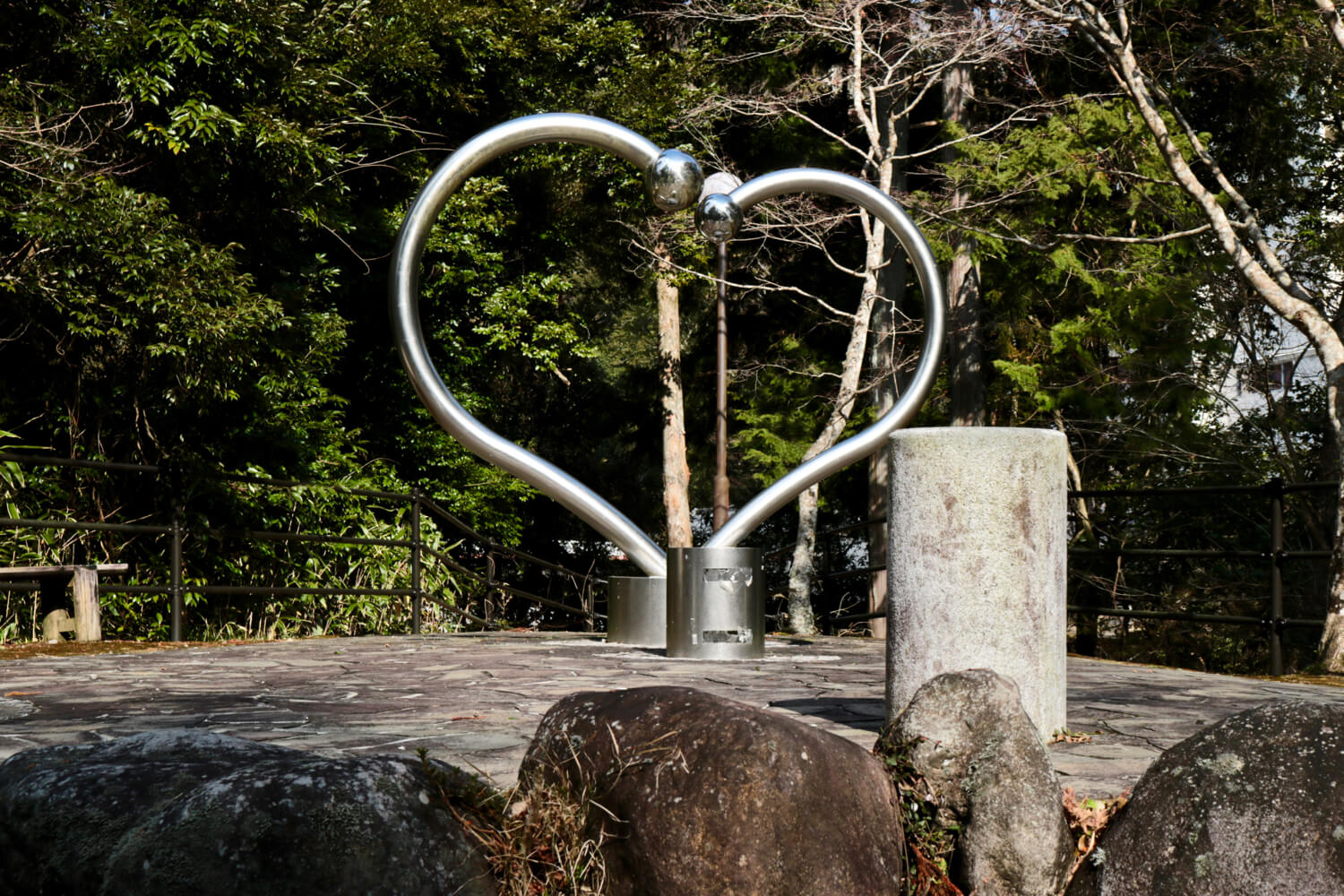 Heart-shaped monument in front of MadoroMi outdoor cafe