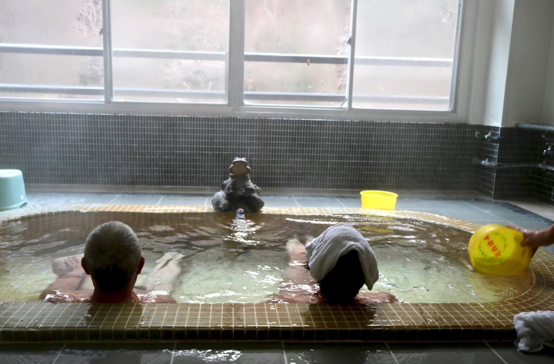 "Onsen bathtub at ""Kajika-no-yu"" public bath"