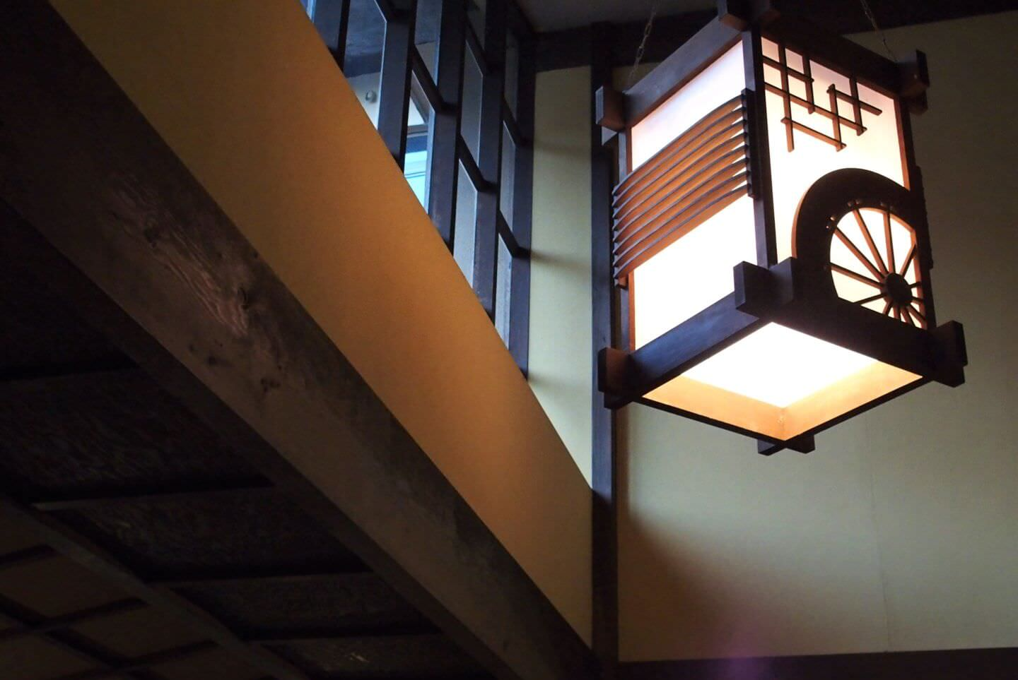 Looking up at the light in the lobby