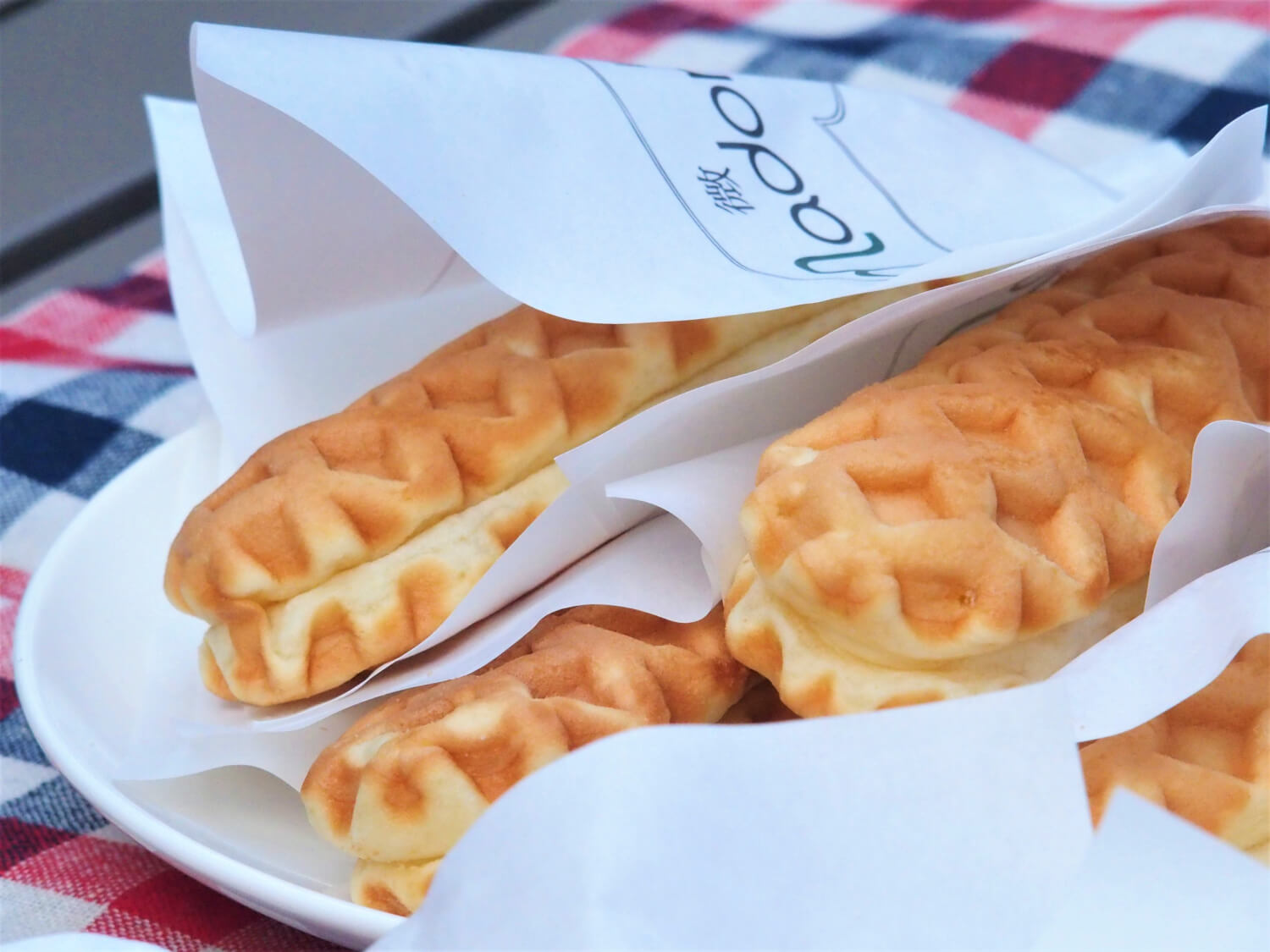 Waffle cheese corn dogs (sans sausages)