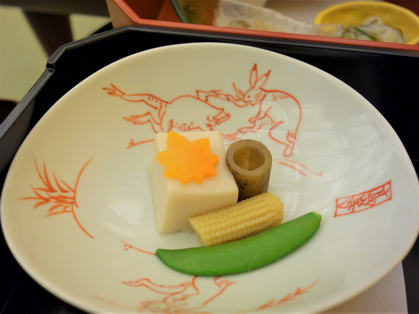 Goma dofu with baby corn, snap pea, burdock and carrot drizzled with goma dressing