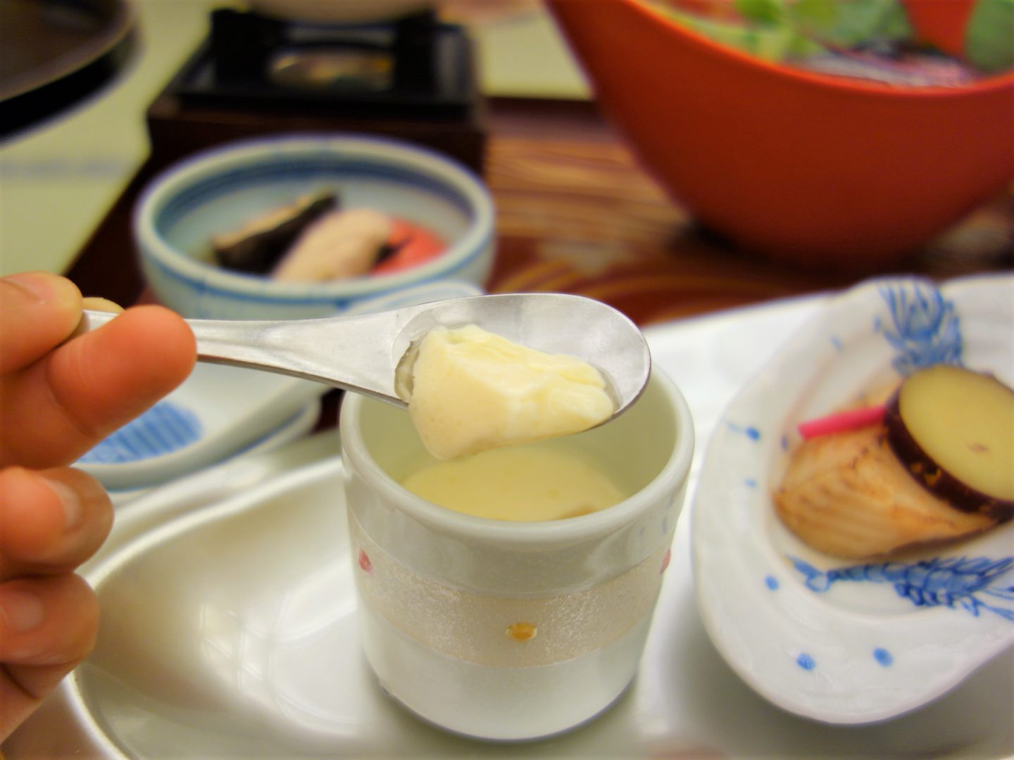 """Chawanmushi"" steamed egg custard served in a cup"