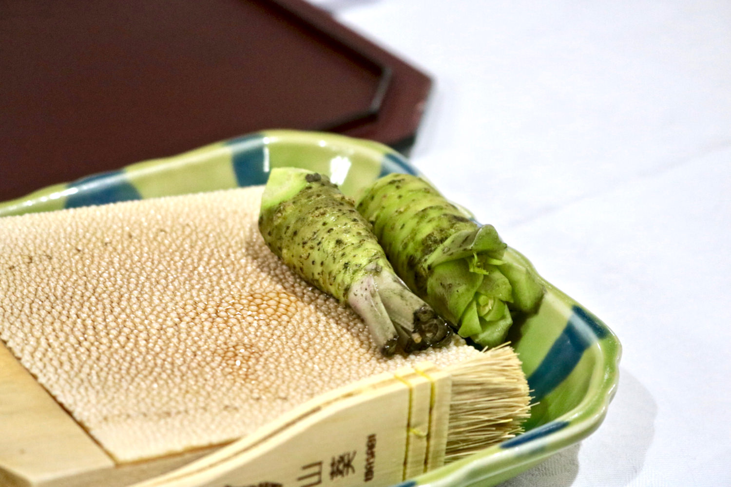 Fresh wasabi served with sashimi