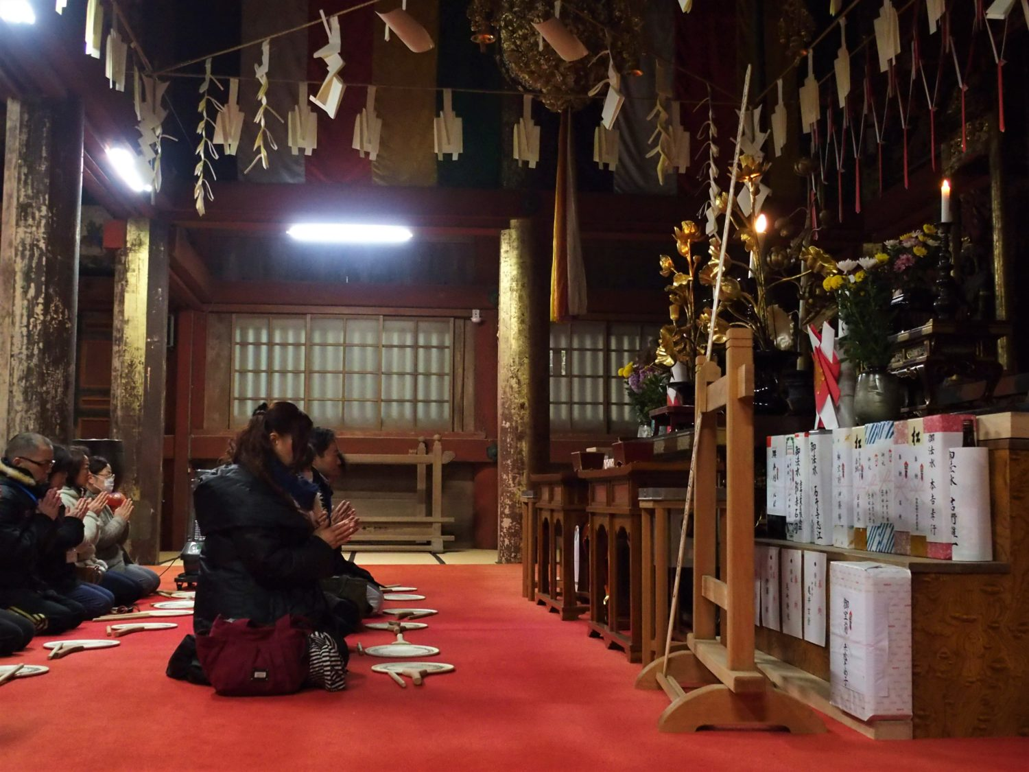 Morning Buddhist services at Daido (Main Hall)
